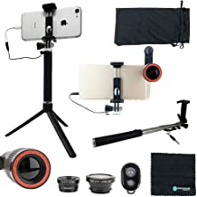 Universal Cell Phone Lens Kit w/Bluetooth Remote Shutter (8-Piece Set) 12x Telephoto, Macro, 180° Fisheye, and Wide-Angle Lenses, Selfie Stick   iPhone, Android, Smartphone, Tablet