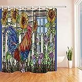 WGEMXC Vorhang, Badezimmer-Vorhang, Farm Art Duschvorhang Huhn Und Sonnenblume Badezimmer Wasserdichtes Gewebe 183X183Cm