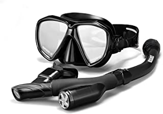 STARTOSTAR Snorkel Set, Anti-Fog Snorkel Mask Panoramic Tempered Glass Innovative Water-Air Separated Channel Free Breathing Anti-Leak Dry Top Snorkel, Professional Snorkeling Set Adult Youth