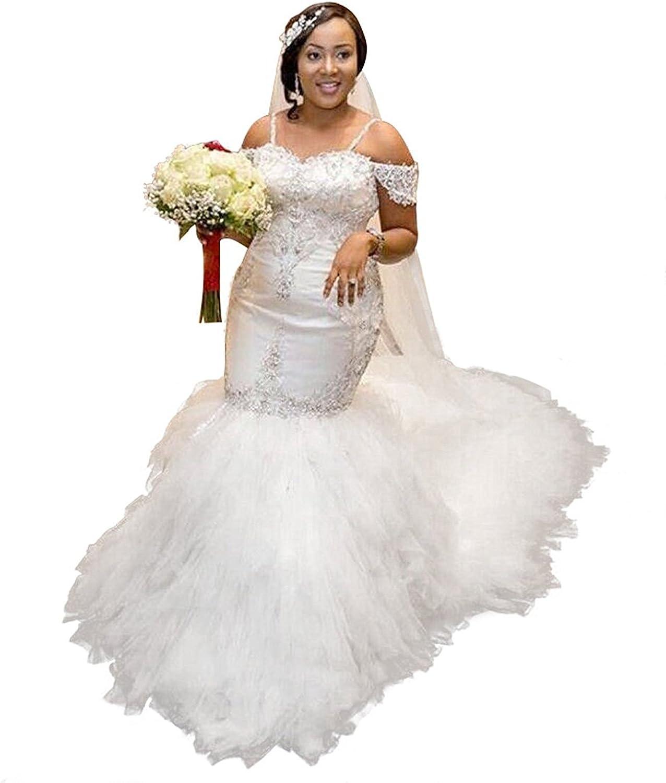 Fanciest Women's Off Shoulder Lace Wedding Dresses for Bride 2018 Mermaid Bridal Gowns White