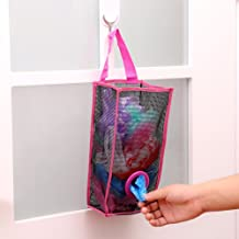 CONNECTWIDE® Mesh Trash/Poly Bags Dispenser- Hanging Storage: Plastic Bag Holder,Hanging Storage Mesh Garbage Dispensers Folding Trash bags Holder Organizer Recycling Shopping Pocket Hanging Containers for Kitchen Bathroom Office (1 Pc) (Pink)