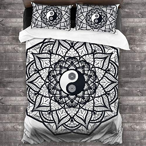 AIMILUX Funda Edredón,Yin y Yang Vintage en Mandala,Ropa de Cama Funda Nórdica,1(200x200cm)+2(50x80cm)