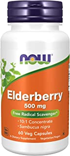 NOW Supplements, Elderberry (Sambucus nigra)500 mg, 10:1 Concentrate, 60 Veg Capsules