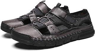 YAMMY Mens Sandalia De Cuero, Cuero Pescador Transpirable Zapatos De Verano Al Aire Libre De La Correa De Los Deportes Oca...
