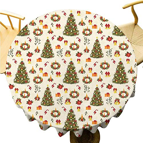 Christmas Tablecloth - 35 Inch Party Round Table Cloth Christmas Drapability Fir Tree Garland and Bells Festive Ornaments Xmas Themed Cartoon Seasonal Holiday Multicolor