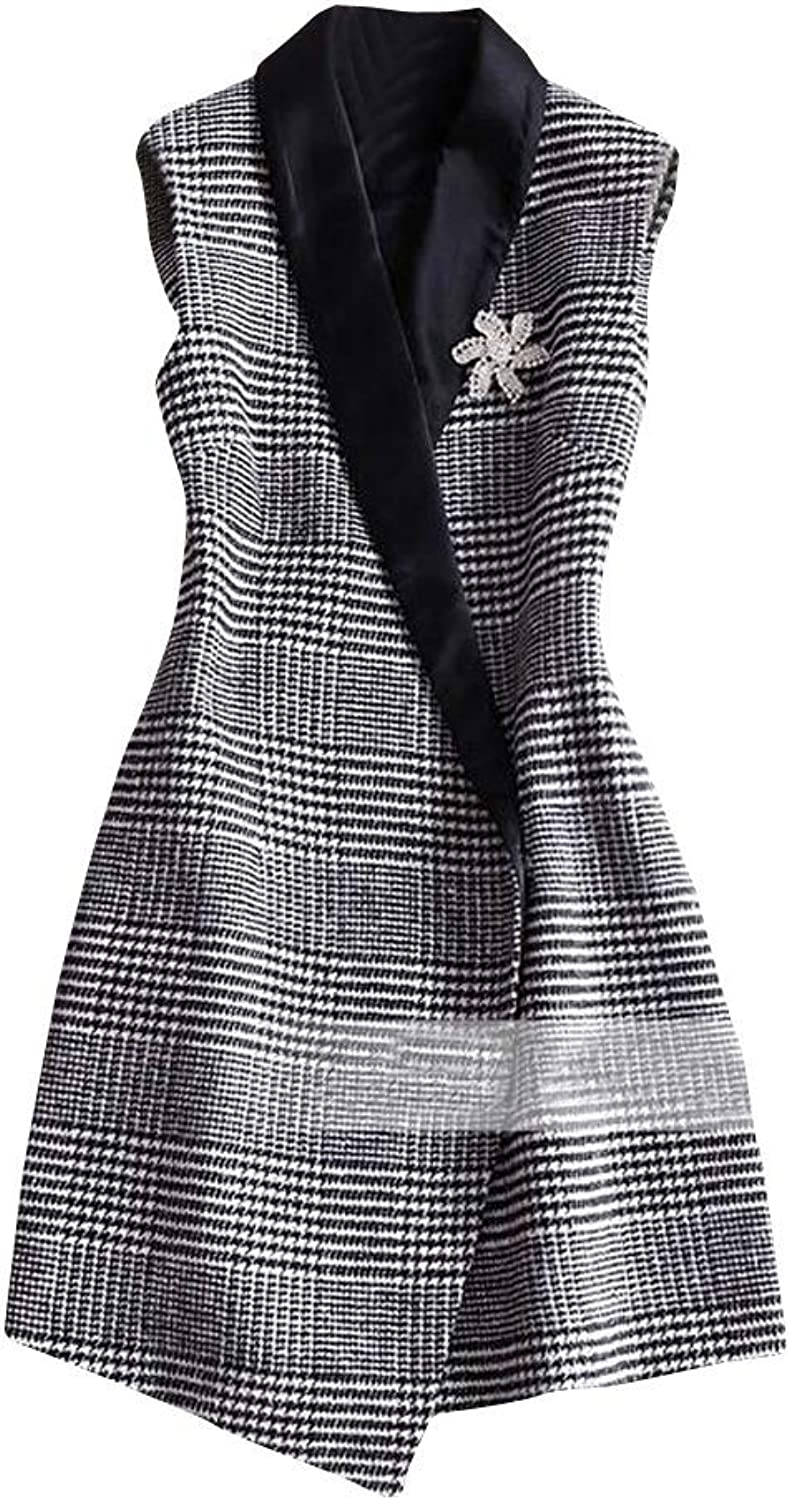 Joe Wenko Womens Sleeveless Vest Thicken Slim Fit Houndstooth Outwear Peacoats