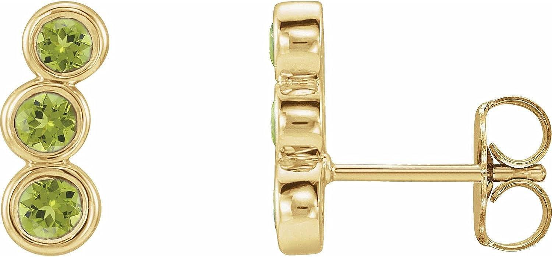 14k Yellow Gold Peridot Ear Climbers for Women