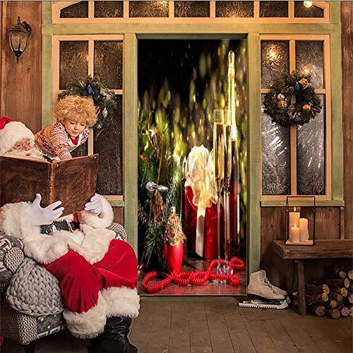 Vinyl deur muur muurschildering deur behang 77x200Cm kerst beker ideeën 3D deuren Refurbish zelfklevende decoratieve waterdichte muur Stickers voor slaapkamer wc huis décor 77x200cm