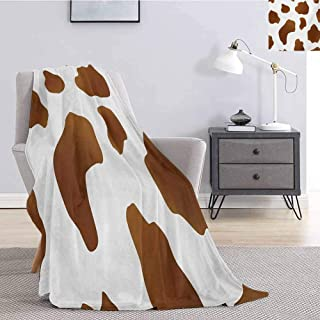 Cow Print Children's Blanket Brown Spots on a White Cow Skin Abstract Art Cattle Fur Farm Animals Cowboy Barn Lightweight Soft Warm and Comfortable W70 x L90 Inch White Brown