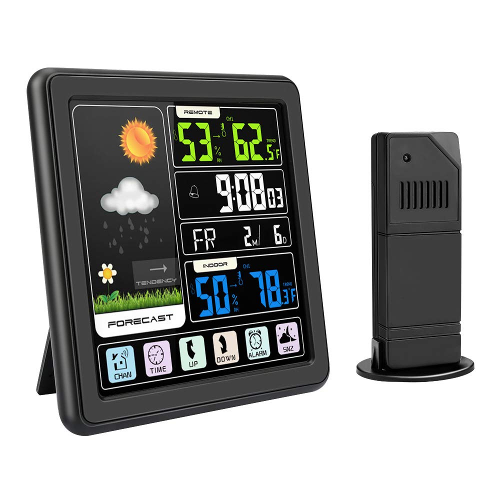Home Digital Thermometer Hygrometer Clock LCD Touch Screen Weather Station