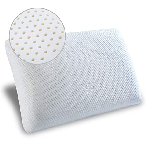 Topfinel Natural Talalay Latex Pillow Ergonomic Granule Medium Firm Pillows for Neck Shoulder Pain Anti Snore Side Back Deep Sleeper with Bamboo Fiber Cover 24x16x3.9