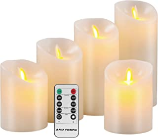 Aku Tonpa Flameless Candles Battery Operated Pillar Real Wax Flickering Moving Wick Electric LED Candle Gift Sets with Remote Control Cycling 24 Hours Timer, 4