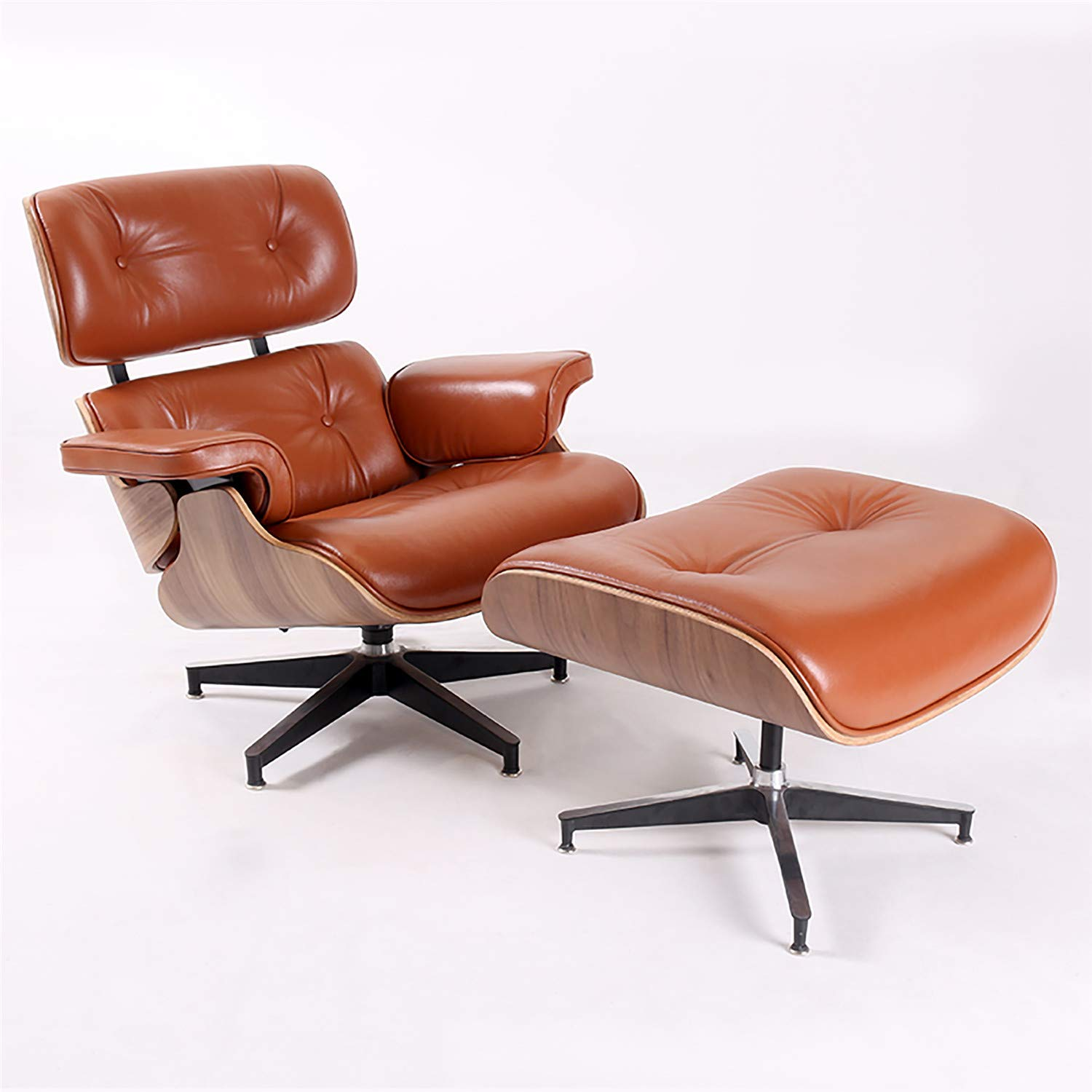 Mid Century Modern Lounge Chair with Ottoman, Eames Recliner Chair with  10% Natural Leather, Plywood Swivel Chair for Living Room (Tan Walnut)