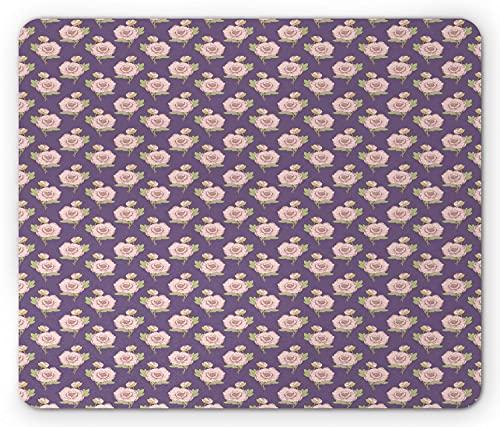 Pfingstrosen Mauspad, blühende Blumen Laub Blütenblatt Essenz Schönheit Vintage Botanik Form, Rechteck rutschfeste Gummi Mousepad, Standard Violet Rose Pale Green