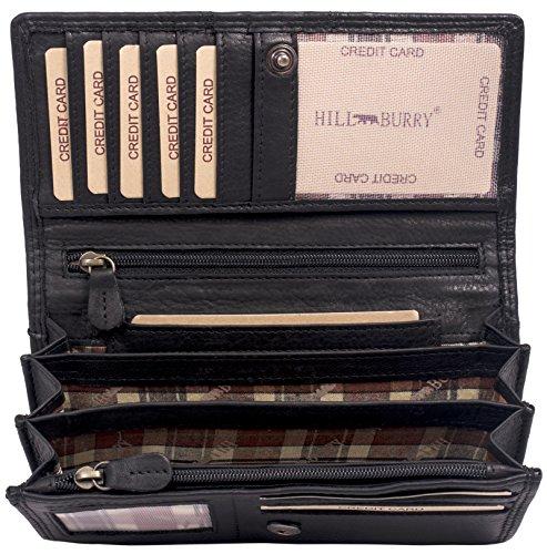 Hill Burry Leder Geldbörse | echtes Vintage Leder - XXL weiches Portemonnaie RFID (Schwarz)