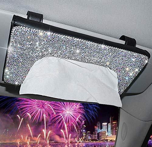 Forala Crystal Auto Sun Visor Tissue Box Holder PU Leather Bling Bling Car Interior Accessories Paper Towel Storage Universal Fit