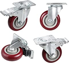 4'' Swivel Rubber Caster Wheels with 360 Degree Top Plate Heavy Duty Total Bearing 1200lbs, Set of 4 (2 with Brakes & 2 Without Brakes)