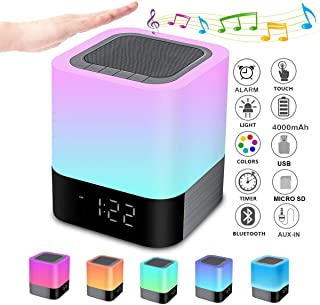 Night Lights Bluetooth Speaker, Alarm Clock Bluetooth Speaker Touch Sensor Bedside Lamp Dimmable Multi-Color Changing Bedside Lamp, MP3 Player, Wireless Speaker with Lights