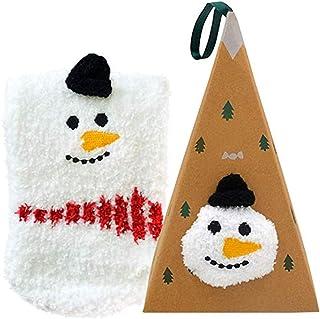 Calcetines de Navidad con diseño de renos de Papá Noel, calcetines cálidos con caja triangular para regalo de Navidad