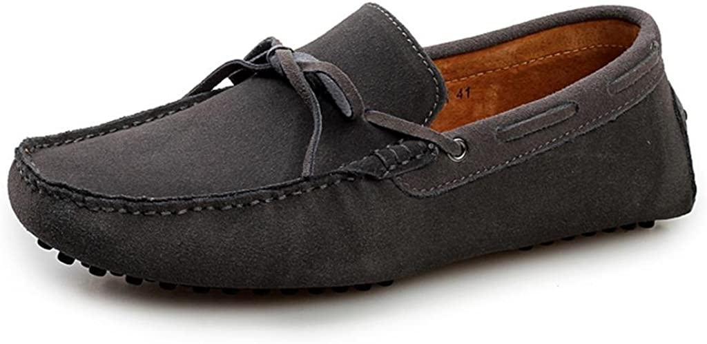 SUNROLAN Men's Fashion Dress Casual Leather Flats Driving Moccasin Loafer Shoes