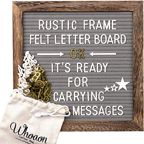 Rustic Wood Frame Gray Felt Letter Board 10x10 inch. Precut White & Gold Letters, Script Cursive Words, Wood Stand. Wall & Tabletop Board Sign for Farmhouse Home Decor. Grey Felt Message Board