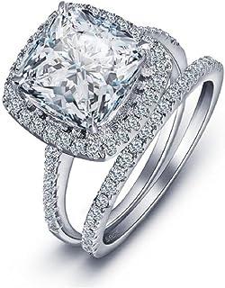 MAIHAO Fashion Ring Women's 2PCS Pretty 18K Princess Cut CZ Bridal Engagement Wedding Band Set Best Anniversary Promise Ri...