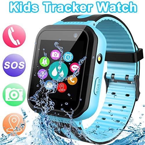 【SOS Phone & Remote APP】 GPS Tracker Smart Watch for Kids, Activity Tracker with SOS Calls Alarm Clock Flashlight Game Smartwatches Toys for Girls Boys 4-12 Years Old Holiday Birthday Gifts (Blue)