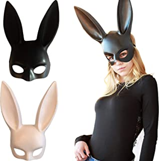 2 Pack Long Ears Rabbit Bunny Mask Party Costume Cosplay Masquerade Women for Halloween Christmas Costume Party Black+White