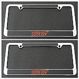 Tuesnut 2X Stainless Steel STI Black Carbon Fiber Vinyl License Plate Frame Covers Holder Screws Caps Rust Free