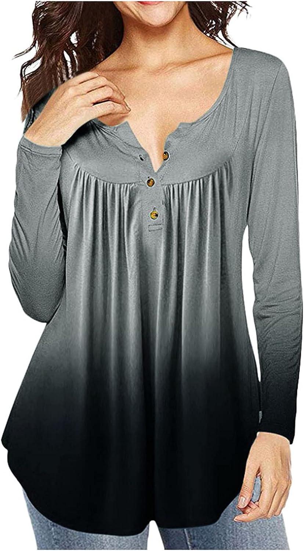 Women Long Sleeve Blouses Elegant,Womens Long Sleeve Botton Up Casual Swing Shirts Flowy Henley Shirt Blouses
