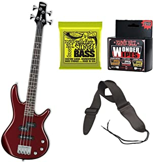 Ibanez MiKro Short-Scale Bass Guitar Root Beer Metallic) Bundle Includes Extra Set of Bass Strings and Strap