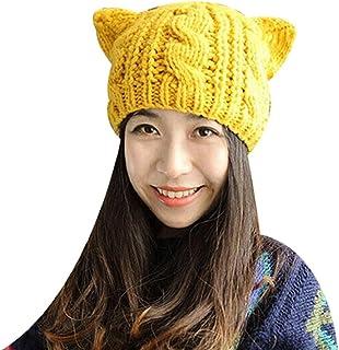 da4bb8f6047618 Yinpinxinmao Women's Winter Woolen Crochet Knitted Hat Lovely Cat Ear Cap  Beanie Hat