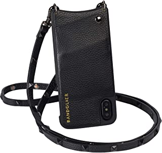 Bandolier Sarah Crossbody Phone Case and Wallet - Black Leather with Pewter Detail - Compatible with iPhone 8, 7, 6 Only