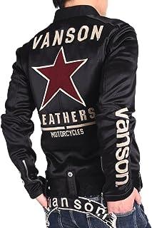 【当店別注】(バンソン) VANSON ライダース ワンスター 刺繍&ワッペン ボンディング ライダース ジャケット JFV-801-BLACK