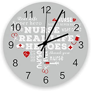 Grey Nurse Theme Wooden Round Wall Clock 12'' Silent Battery Operated Non Ticking Clock, Nurse Real Life Healthcare Noisel...