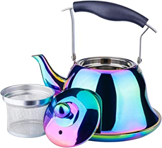 OMGard Whistling Tea Kettle with Infuser Loose Leaf Stainless Steel Teapot Rainbow Teakettle for Stovetop Induction Stove Top Heat Water Tea Pot Colorful 2-Liter 2.1-Quart