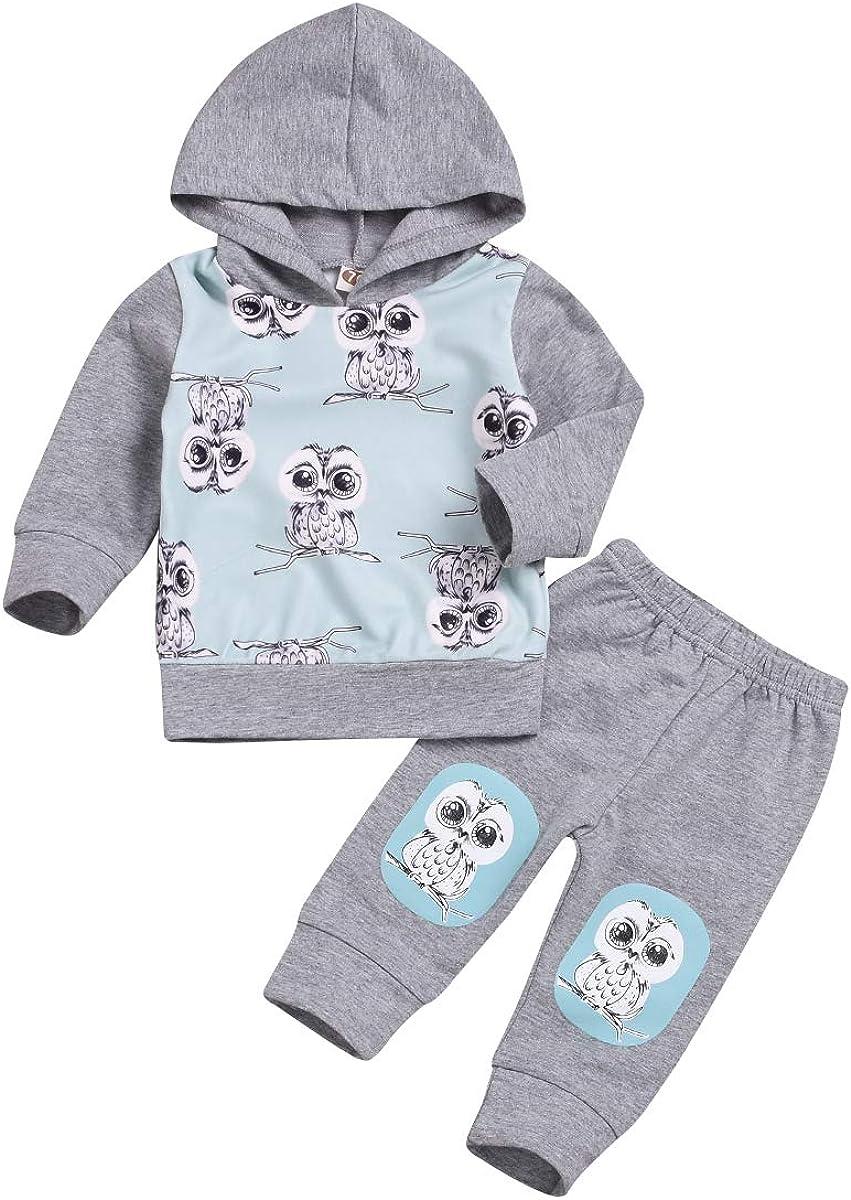 Kids Infant Toddler Baby Boys Girls Hoddie Outfit Cartoon Print Sweatshirt Jacket Shirt + Pants Brothers Sisters Clothes Set