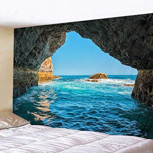 Tapiz para colgar en la pared, diseño de paisaje natural, azul marino, para dormitorio, sala de estar, decoración de dormitorio