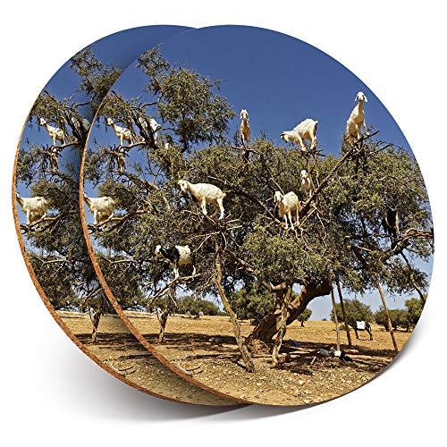 Destination Vinyl ltd - Posavasos (2 Unidades), diseño de árbol, Cabras, Animales, Bebidas, Brillantes, protección para Cualquier Tipo de Mesa #8667