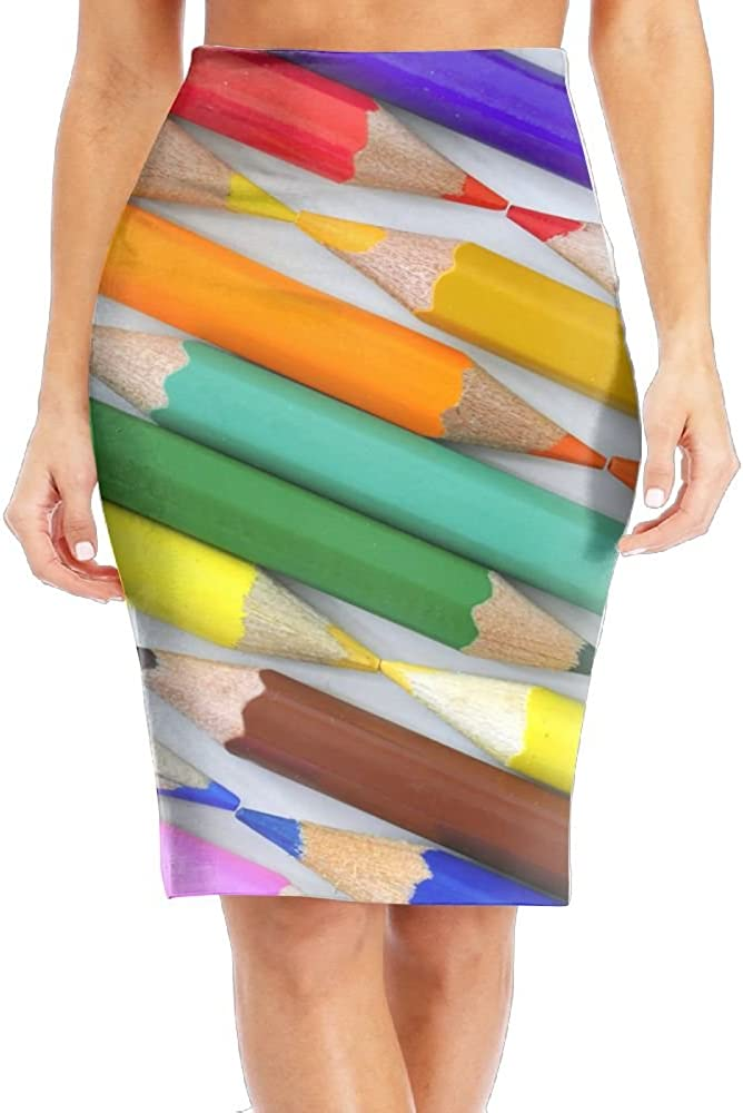 Rainbow Coloful New Orleans Mall Crayon Women's Discount is also underway Printed Fashion Pencil Skirt