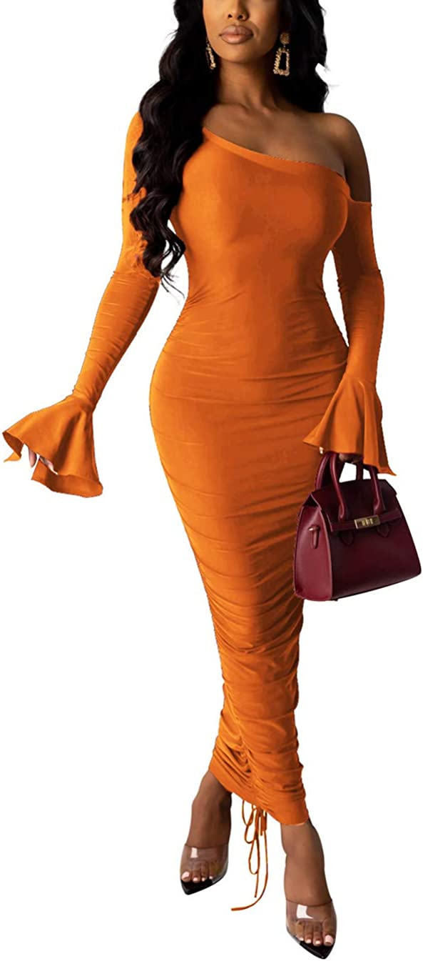 Women's Sexy Bodycon Cocktail Dress Off Shoulder Long Sleeve Ruched Maxi Skinny Club Dress