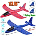 """2 Pack Airplane Toys, 17.5"""" Large Throwing Foam Plane, 2 Flight Mode Glider Plane, Flying Toy for Kids, Gifts for 3 4 5 6 7 Year Old Boy, Outdoor Sport Toys Birthday Party Favors Foam Airplane"""