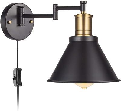 Vintage Industrie Wandlampe Schlafzimmer Nachttischlampe Justierbare Metalllampenschirm f/ür Wohnzimmer Loft Korridor E27 MAX 40W, UIGJIOG Retro Wandleuchten Stecker in Wandleuchte mit Schaltern