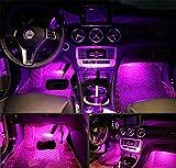 4Pcs Car LED Interior Underdash Lighting Kit w/Sticker - Led Car Interior Light Auto Interior Lights Car Auto Interior LED Atmosphere Lights Purple- Price Xes