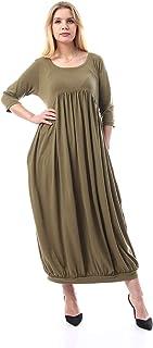 فستان سادة باكمام للكوع للنساء من قاضي - 2725607014127