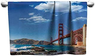 Mannwarehouse Apartment Decor Collection Beach Towel San Francisco Golden Gate Bridge GGB Rocky Sea Waterscape Scenic Coastline Vacation Image W10 x L10 Blue