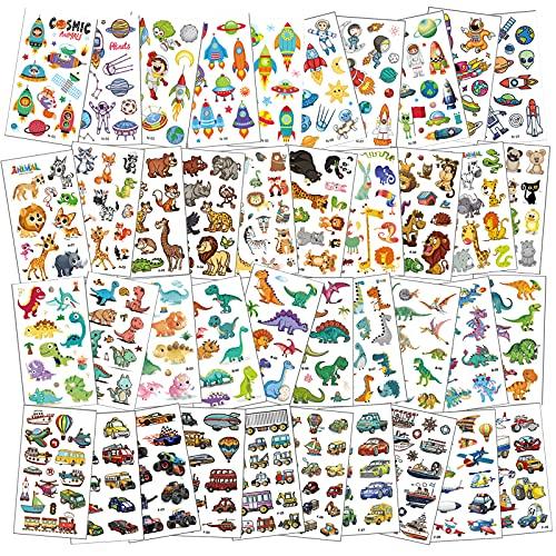 Tattoo Kinder,40 Blätter Temporäre Tattoos Set mit Dinosaurier Auto Tier und Fahrzeuge,Tattoo Kinder Jungen,Wasserdichte Kindertattoos,Kinder Aufkleber Set für Kinder Mitgebsel Kindergeburtstag