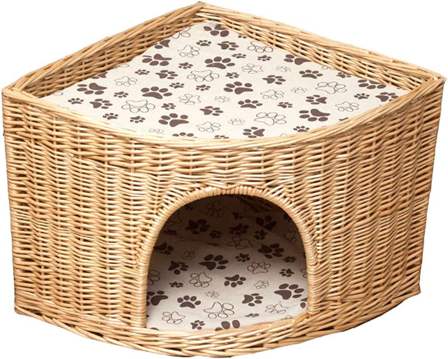 LqcwdPed bed Pet Nest Wicker Kennel Rattan Cat Cage Fanshaped Corner Small Dog Washable Four Seasons Universal Hand Made