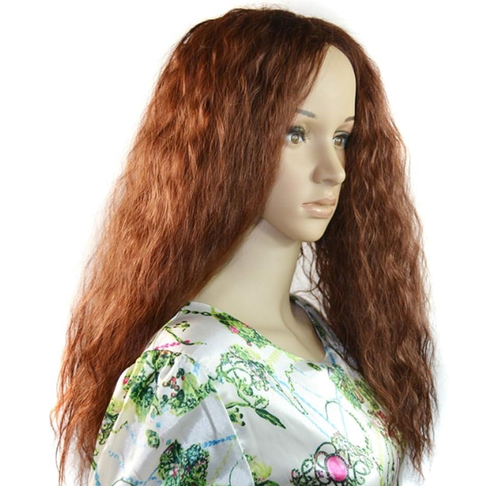 モッキンバード拡声器ストレッチKoloeplf 70cm長いカーリーウィッグライトブラウンヘアミディアムふわふわロングヘアスタイルコーンホットウィッグ - ナチュラルウィメンズウィッグ (Color : Light brown)