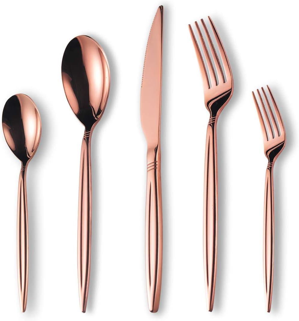 Berglander Juego de cubiertos de chapado en oro rosa de titanio 30 piezas, juego de cubiertos de oro rosa de acero inoxidable, servicio de juego de cubiertos de cobre para 6